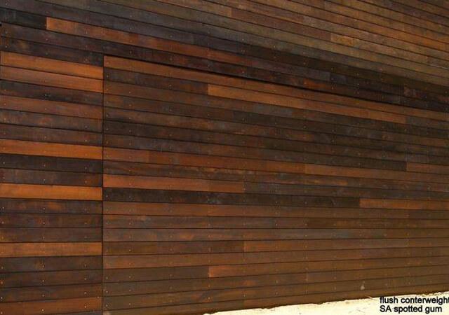 Custom Flush Mounted Spotted Gum Tilt Panel Door