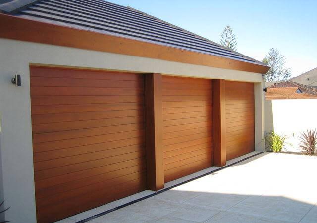 Horizontal Design Timber Look Triple Garage Doors