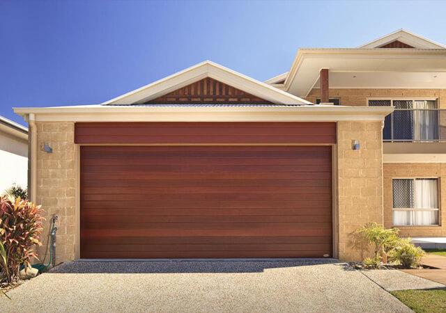 Dark Timber Look Sectional Garage Door